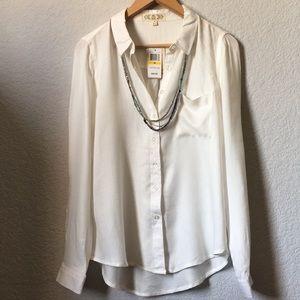 White Button Down Shirt Top